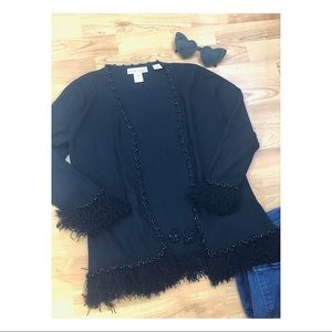 White House Black Market Sweaters - WHBM Black Fringe Cardigan Tassel Top